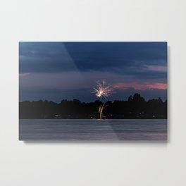 Fireworks Over Lake 21 Metal Print