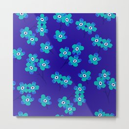 Forget-me-nots - Blue Metal Print