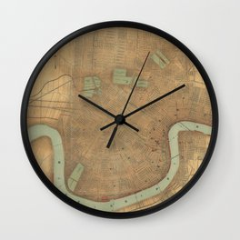 Vintage Map of New Orleans (1919) Wall Clock
