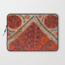 Orange Wildflower Sunshine III // 18th Century Colorful Rusty Red Bright Blue Metallic Happy Pattern Laptop Sleeve