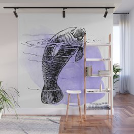 Purple Manatee Wall Mural