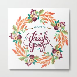Autumn foliage wreath, thanksgiving typography Metal Print