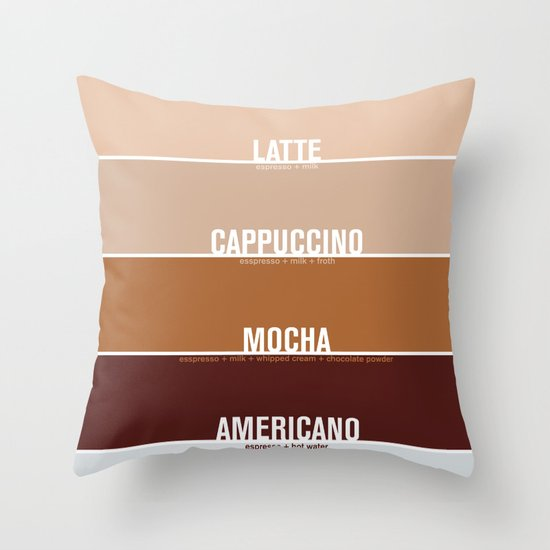four shades of coffee + ingredients Throw Pillow