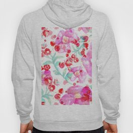 Summer watercolor flowers hot pink blossom Hoody