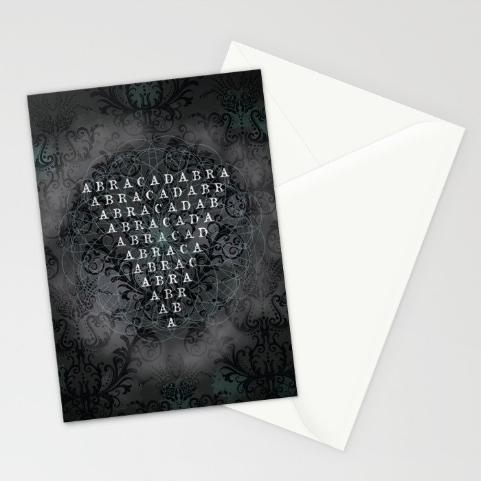 Abracadabra Reversed Pyramid in Charcoal Black Stationery Cards