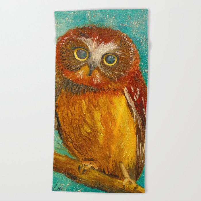 Little owl Beach Towel