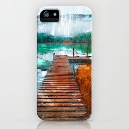 Wooden Jetty Serene Lake In Romania - Jetties Around The World iPhone Case