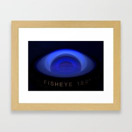 Fisheye lens under UV light Framed Art Print
