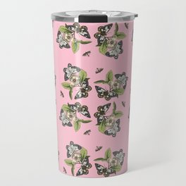 Butterflies and Camellias on Pink Pattern Travel Mug