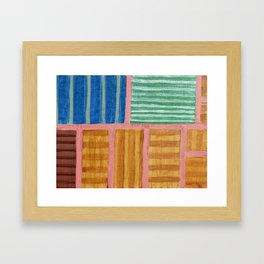 Beautiful Stripes Pattern within a Pink Grid Framed Art Print