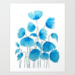 blue poppy field watercolor Art Print