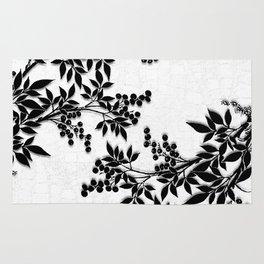 Black and White Leaf Toile Rug
