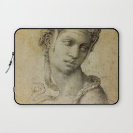 """Michelangelo Buonarroti """"Female Figure Seen in Bust-Length From the Front (Cleopatra with snake)"""" Laptop Sleeve"""