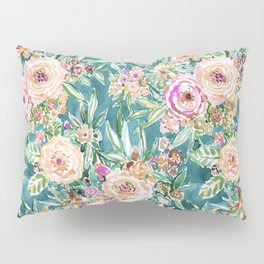 Teal MAUI MINDSET Colorful Tropical Floral Pillow Sham