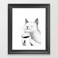 Coffe & Cat Framed Art Print