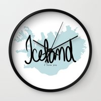 iceland Wall Clocks featuring Iceland love by Gabriela Fuente