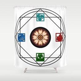 Elemental White Lotus - ATLAS Shower Curtain