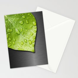 Green Wet Leaf & Metallic Background Stationery Cards