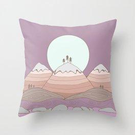 Moon over the Mountians Throw Pillow