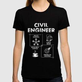 Civil Engineer T-Shirt Beer Coffee Problem Solving Gift Tee T-shirt