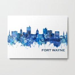 Fort Wayne Indiana Skyline Blue Metal Print