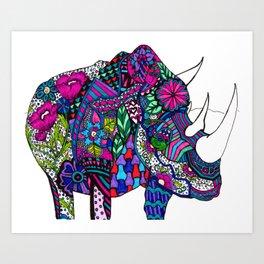 """Color Therapy"" Rhino Art Print"