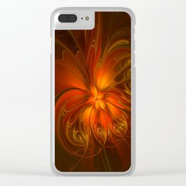 Burning, Abstract Fractal Art With Warmth Clear iPhone Case