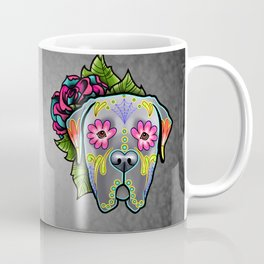 Mastiff in Grey - Day of the Dead Sugar Skull Dog Coffee Mug