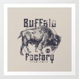 BUFFALO FACTORY  Vintage Buffalo Art Print