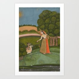 Todi Ragini, from a Ragamala Series - 18th Century Classical Indian Art Art Print