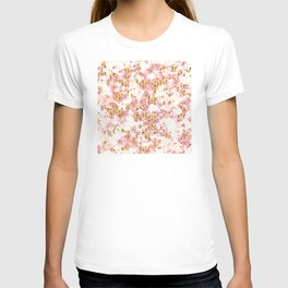 Rose Gold Glitter Bling Party Pink Sparkle Marble T-shirt