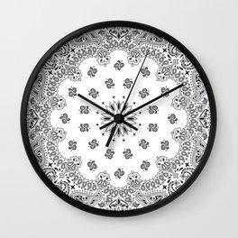 Bandana - White - Paisley - Southwestern Wall Clock