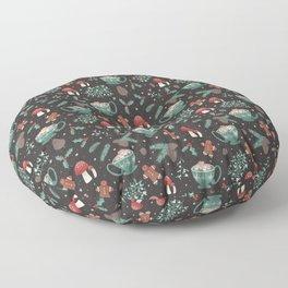 Cottagecore Christmas Black Floor Pillow