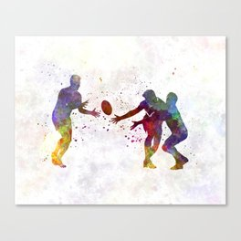 Rugby men players 02 in watercolor Canvas Print