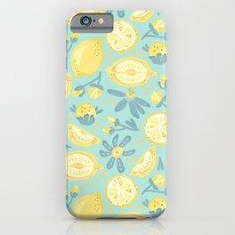 Lemon Pattern Mint iPhone Case