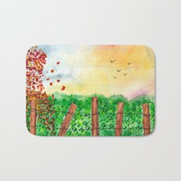 Sunset Landscape Watercolor Bath Mat
