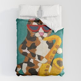 Calico Cat Saxophone Player Comforters