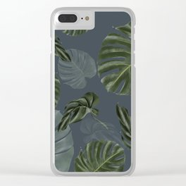 monstera navy pattern Clear iPhone Case