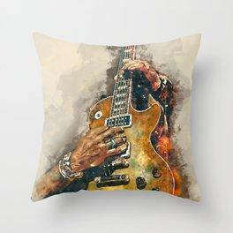 slash's electric guitar, guitar wall art, studio decor, music room decor, gift for guitarists Throw Pillow