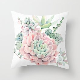 Pink Succulents Watercolor by Nature Magick Throw Pillow