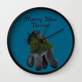 Merry Blue Terrier (Blue Background) Wall Clock