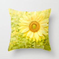Smiling sunflower Throw Pillow