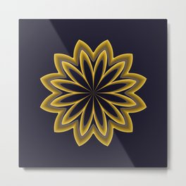 Abstract Flower in Gold Metal Print