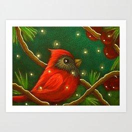 HOLIDAY TINY RED CARDINAL BIRD - MORE SNOW Art Print