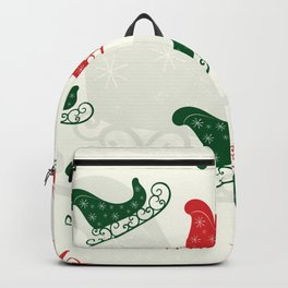 Sled Pattern Green and Red on a Ivory Background Backpack