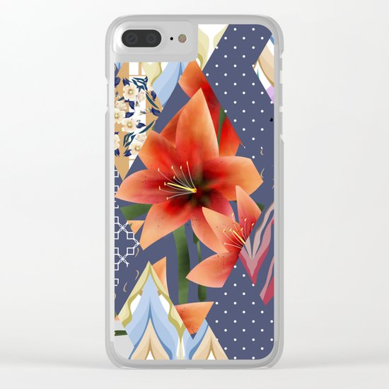 """A series of """"Favorite patchwork"""". Lilies with blue fabrics. Clear iPhone Case"""