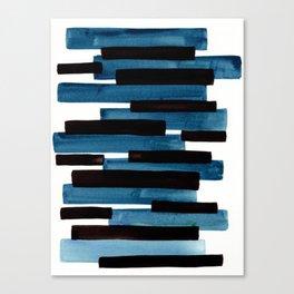 Marine Blue Primitive Striped Mid Century Modern Minimalist Watercolor Gouache Painting Colorful Str Canvas Print