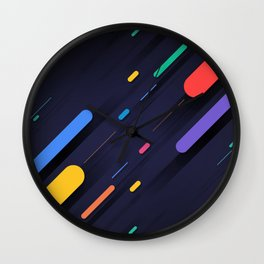 Multicolor shapes on black backround Wall Clock