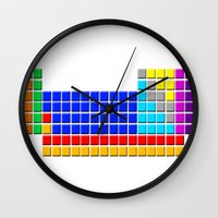 periodic table Wall Clocks featuring PERIODIC TABLE OF ELEMENTS by darlthedreamer