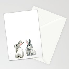 baby rabbit sister watercolor painting  Stationery Cards